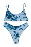 Scoop Neck Tie Dye Bikini Set Turquoise