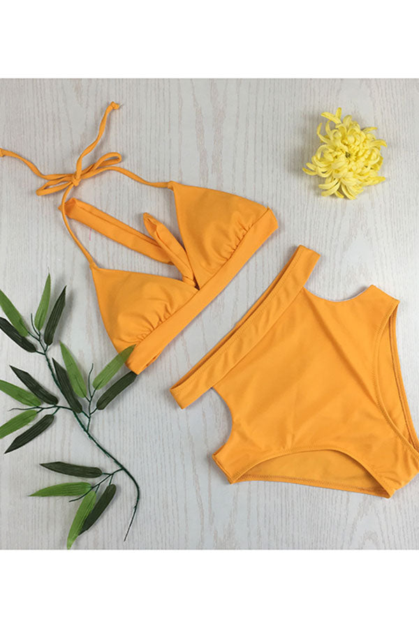 Solid Triangle Top Cut Out Side Bikini Set Ginger