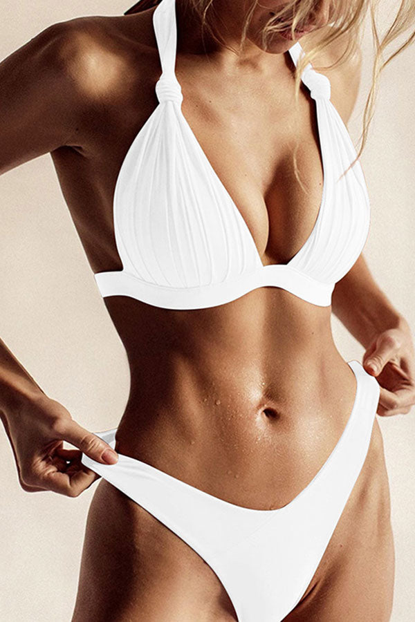 Halter Pleated High Cut Thong Two Piece Swimsuit White
