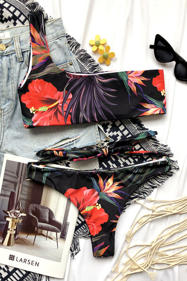 Floral Print High Cut One Shoulder Bikini Set Black