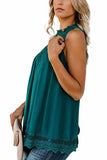Women's Mock Neck Crochet Lace Sleeveless Tank Top Green