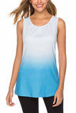 Women's Pleated Sleeveless Round Neck Ombre Print Casual Tank Top Blue