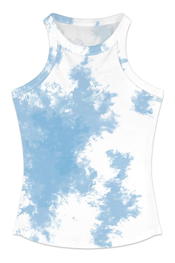 Women's Summer Casual Tie Dye Print Casual Tank Top Light Blue