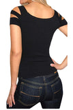 Black Cold Shoulder Cut Out Strappy Tee Shirt