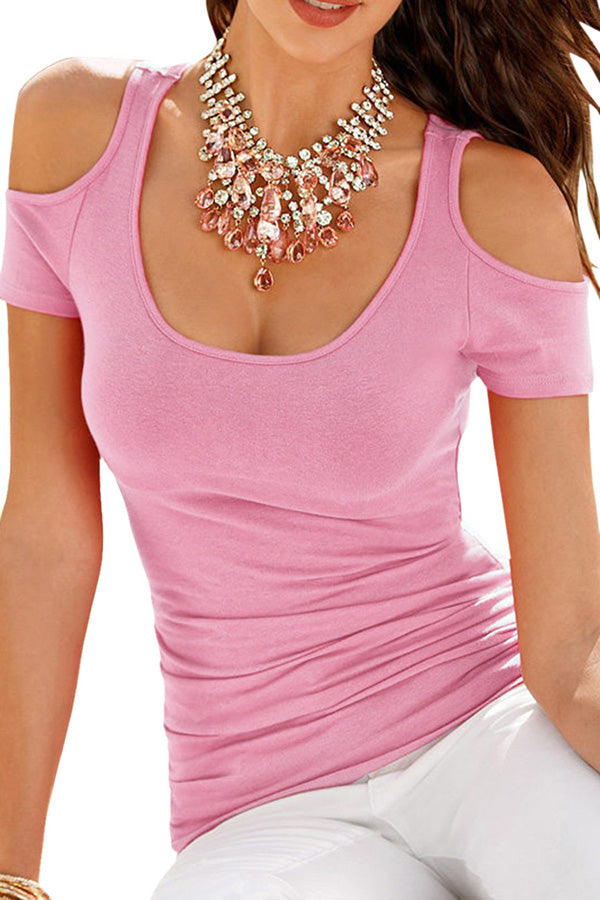 Womens Sexy Cold Shoulder Plain T Shirt Pink