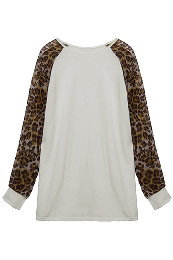 Women's Crew Neck Leopard Print Long Sleeve T Shirt White