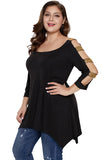 Plus Size Rhinestone Cut Out Sleeve T-Shirt Black