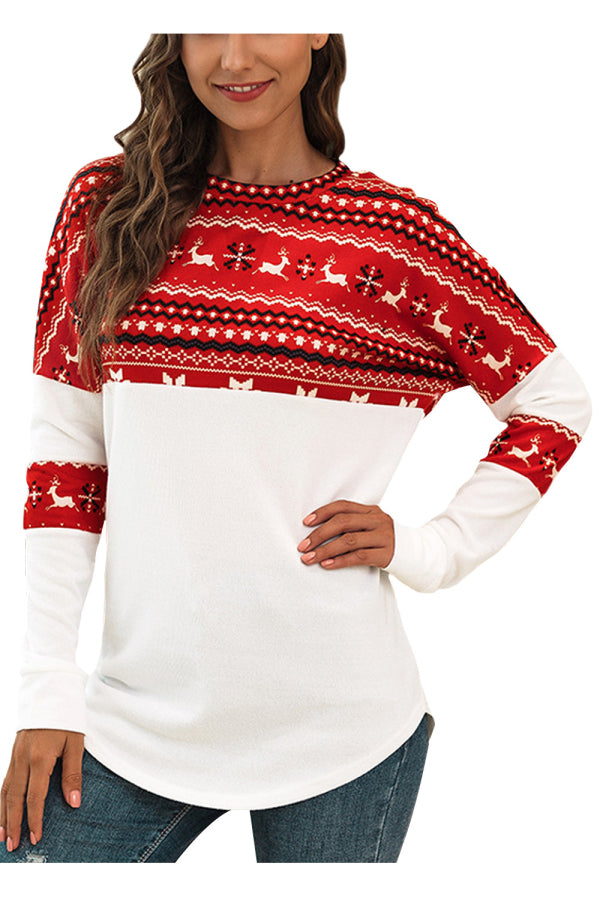 Fair Isle Reindeer Snowflake Christmas Shirt Red