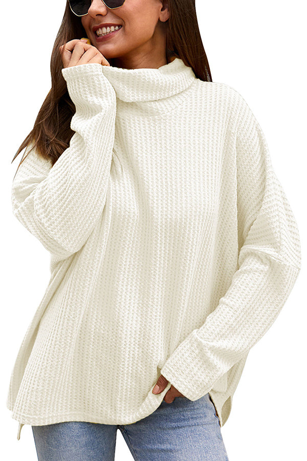 Waffle Knit Plain Oversized Sweater White