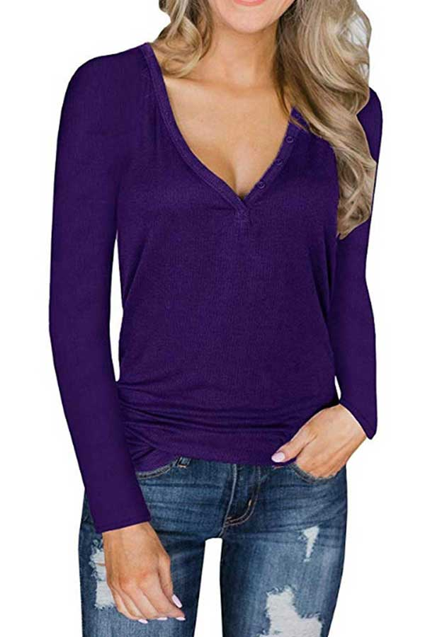 Women's Long Sleeve Button Front V Neck Casual T-Shirt Purple
