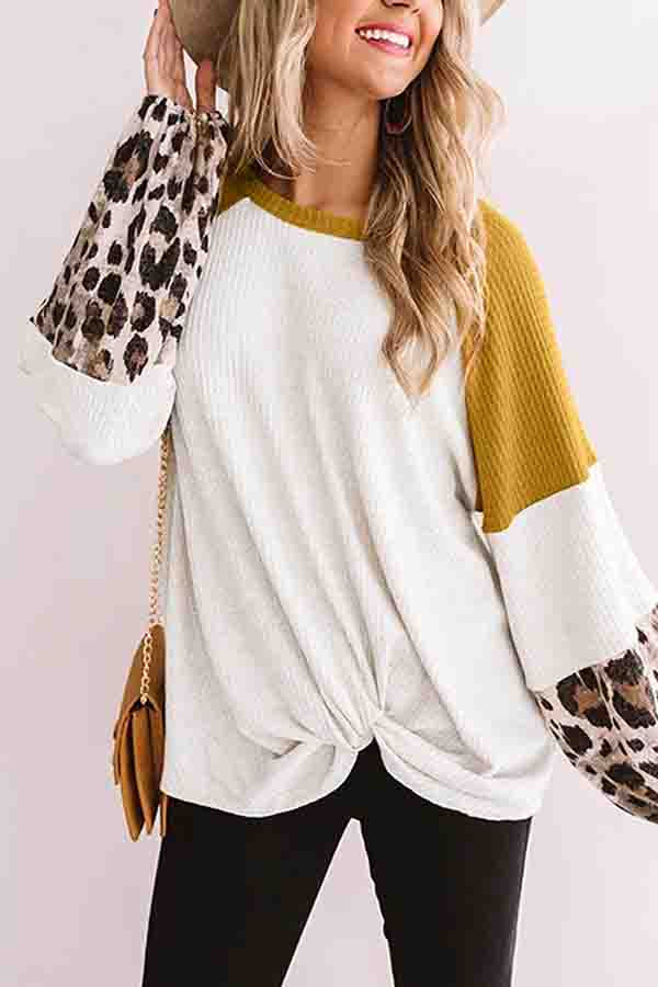Crew Neck Long Sleeve Waffle Knit Color Block Twist T-Shirt Ginger
