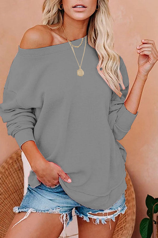 Loose Long Sleeve One Shoulder Sweatshirt Grey