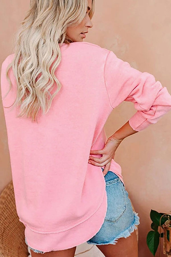 Boat Neck Long Sleeve Pullover Plain Sweater Pink