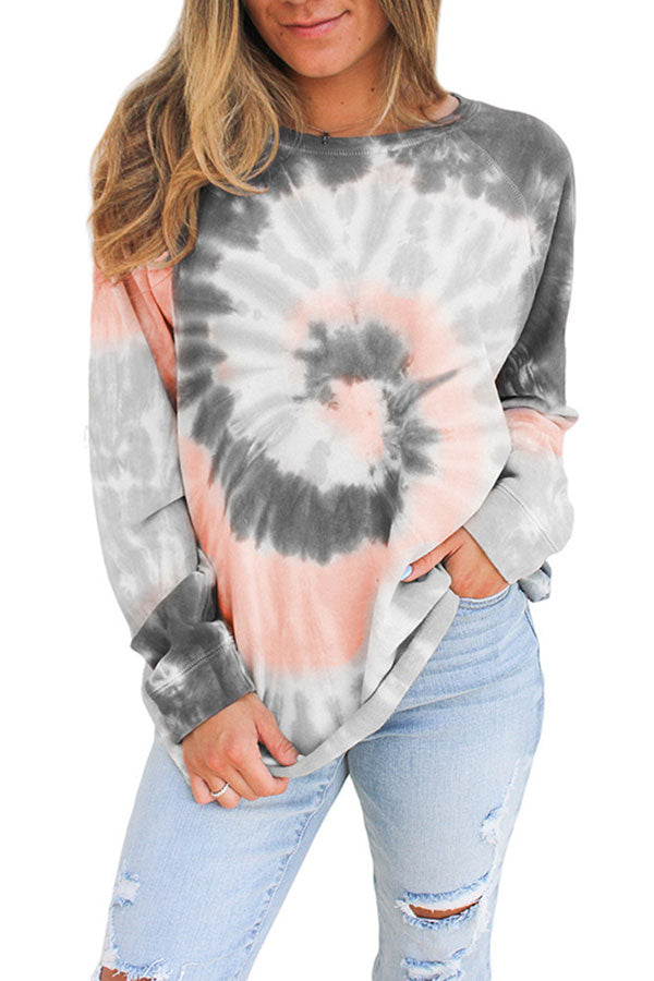Loose Tie Dye Raglan Sleeve Crew Neck T-Shirt Grey