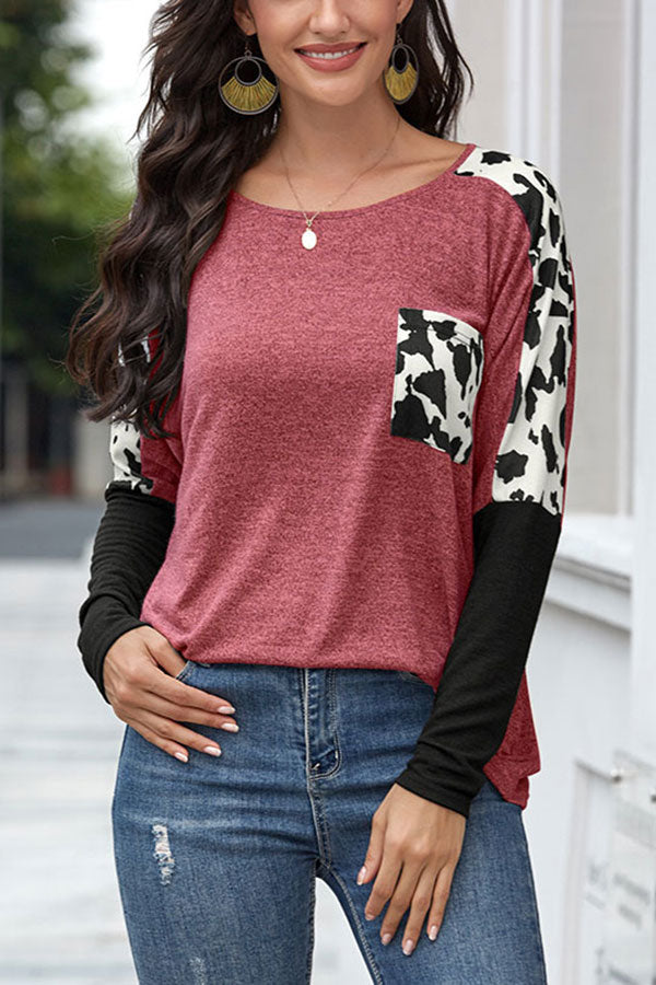 Long Sleeve Color Block Crew Neck Leopard T-Shirt Ruby