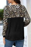 Knot Front Long Sleeve Leopard T-Shirt For Women Black