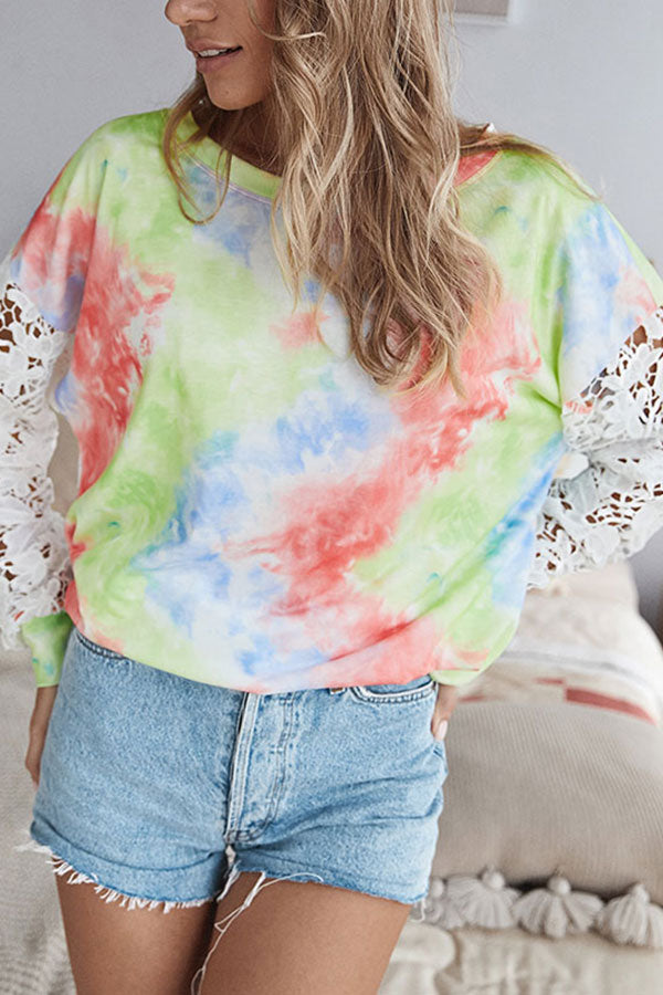 Crew Neck Lace Tie Dye Long Sleeve T-Shirt Green