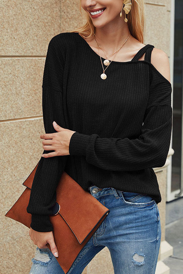 One Shoulder Long Sleeve Plain T-Shirt For Women Black