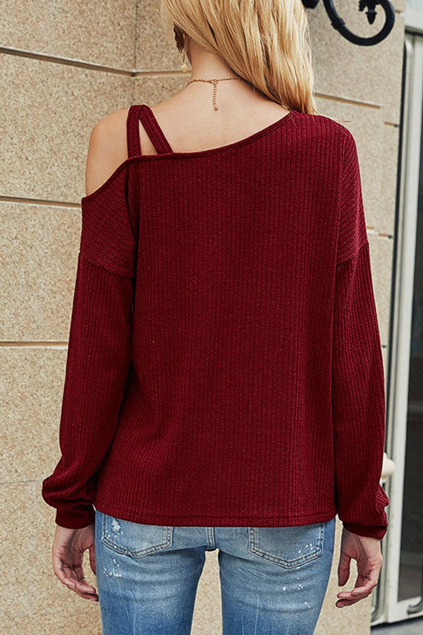 Solid Ribbed Cut Out Long Sleeve T-Shirt Ruby