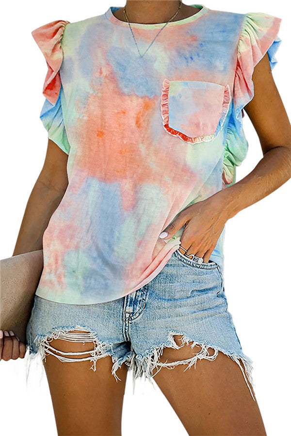 Tie Dye Ruffle Sleeve Pocket Tee Orange