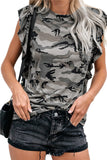 Camo Print Ruffle Trim Pocket T-Shirt Gray