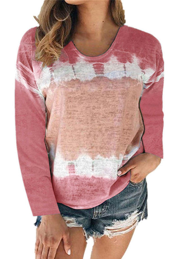 Tie Dye Color Block Crew Neck Long Sleeve T-Shirt Ruby