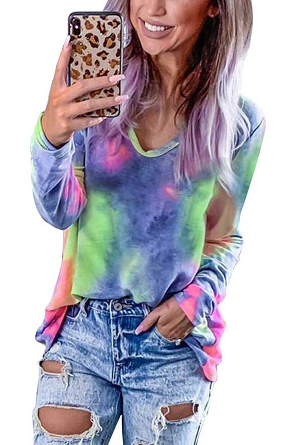 Casual Long Sleeve Tie Dye Tee Navy Blue