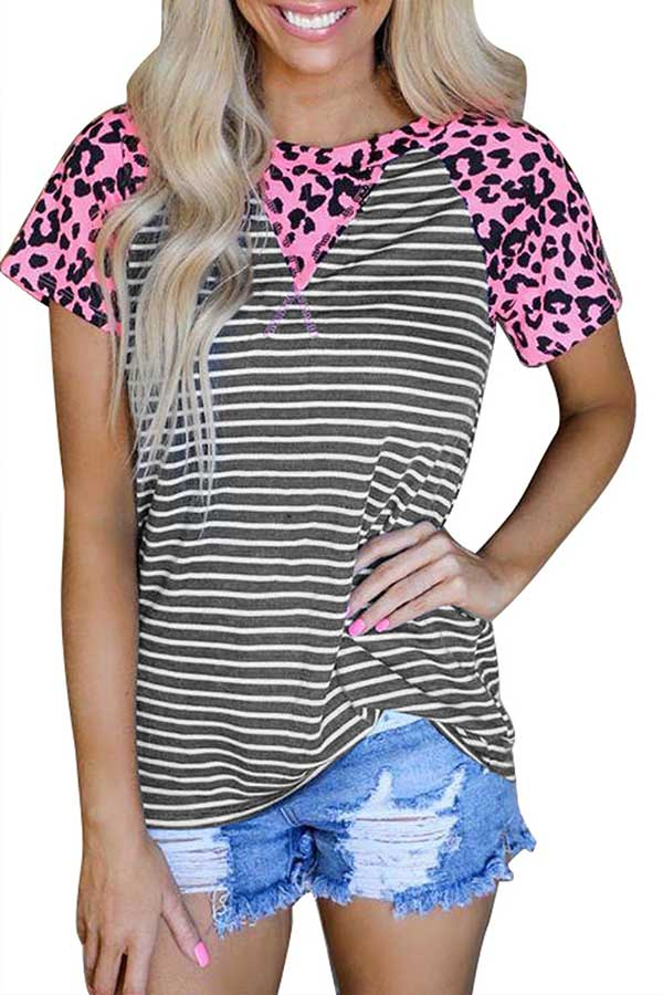 Casual Short Sleeve Leopard Print Striped T-Shirt Gray