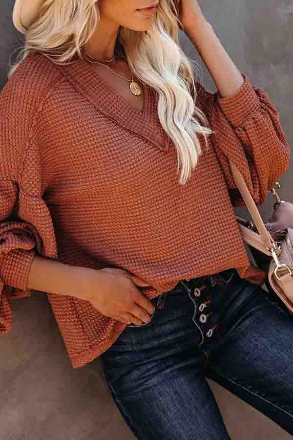 Waffle Knit V Neck Long Sleeve Oversized T-Shirt
