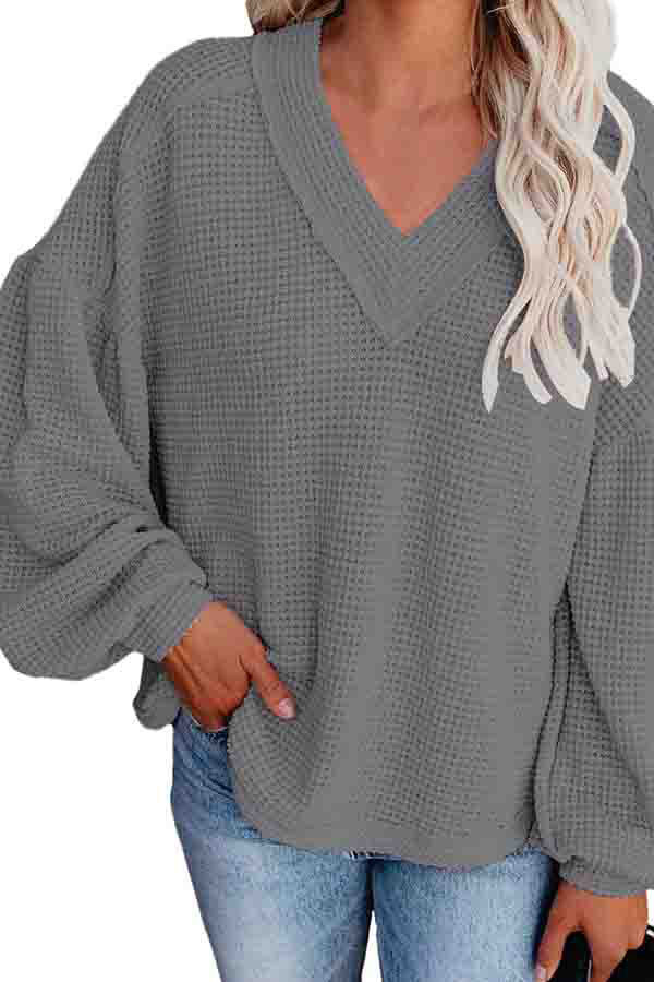 Lantern Sleeve V Neck Waffle Knit Sweatshirt For Women
