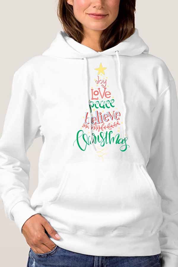 Christmas Tree Letter Composition Hoodie White