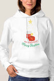 Women Kangaroo Pocket Joy Peace Believe Christmas Hoodie