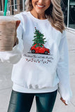 Christmas And Little Red Cat Women Sweatshirt White