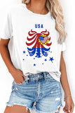 America Flag Graphic Daisy Summer Casual T-Shirt For Women