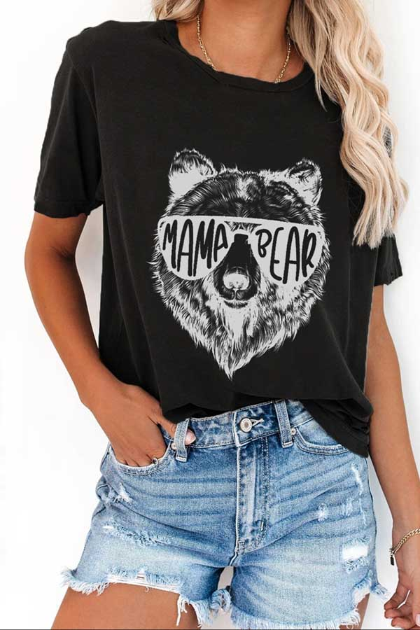 Women's Crew Neck Casual Mama Bear Shirt
