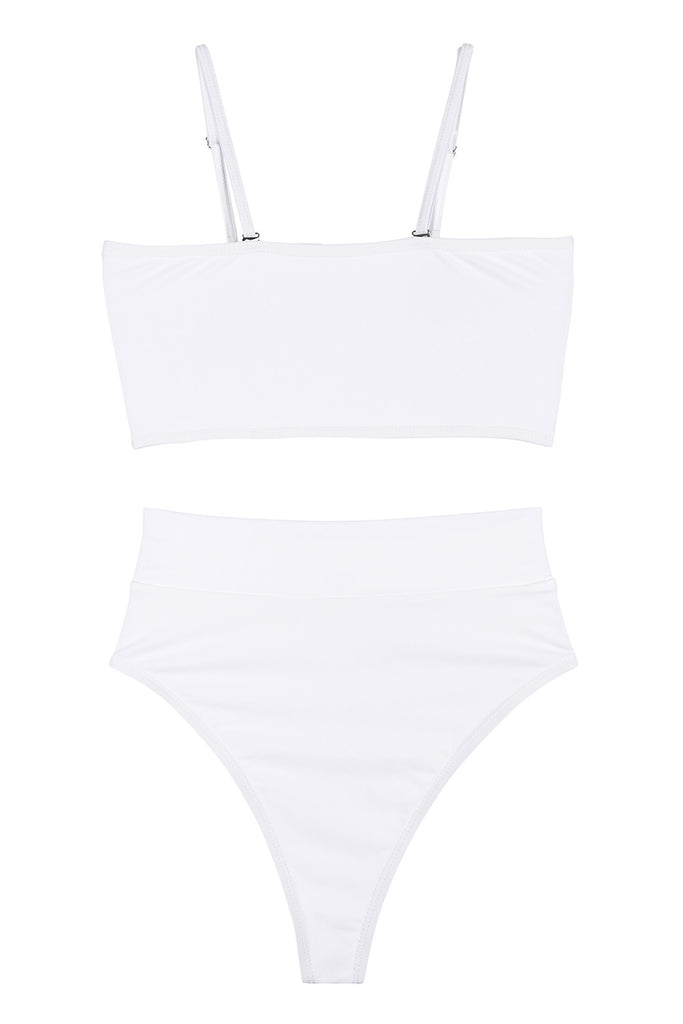 Sexy Bandeau High Waisted Bikini Bottoms Set Two Piece Swimsuits White