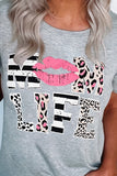 Mom Life Leopard Lips Short Sleeve Black T-Shirt