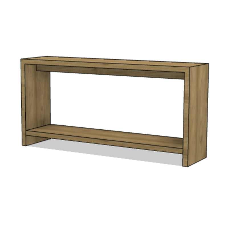 Waterfall Console with Lower Shelf