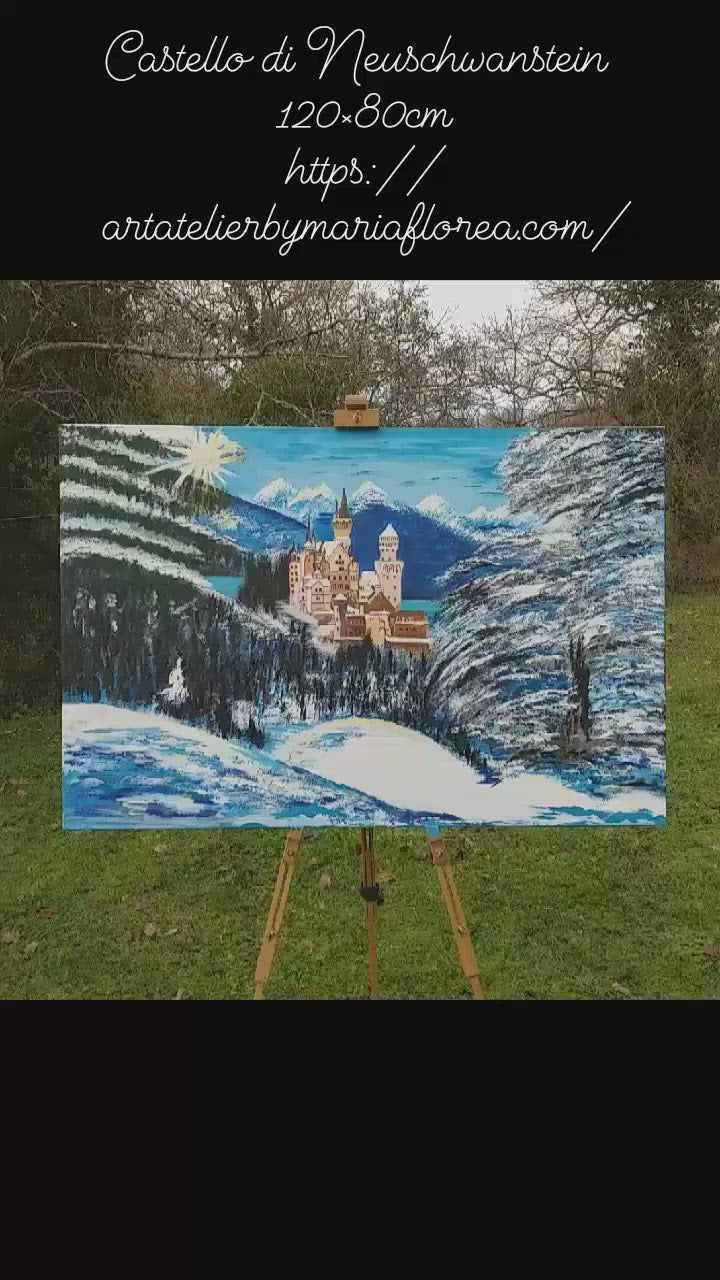 Castello di Neuschwanstein, acrylic painting on canvas