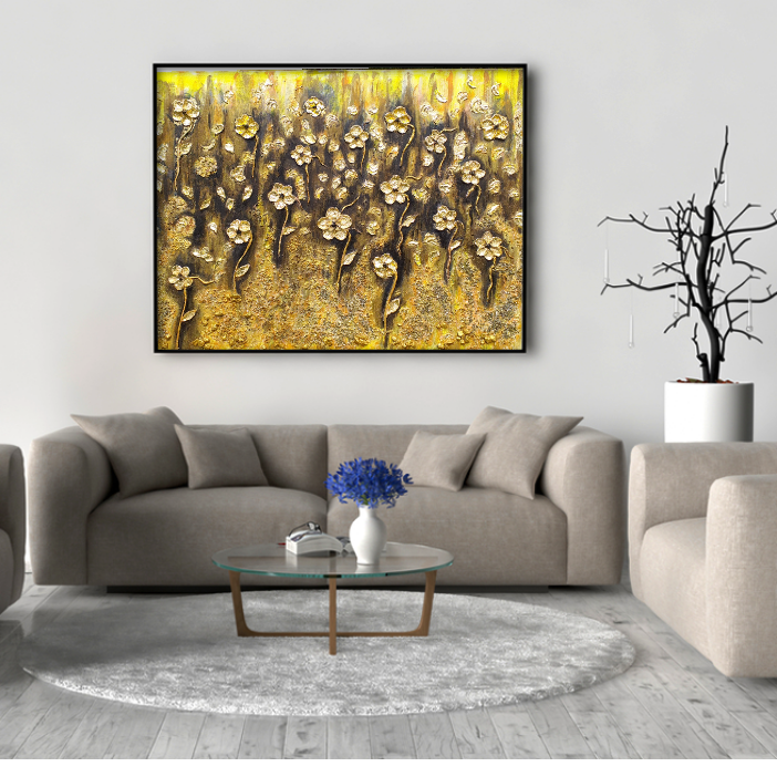 Flowers in Eldorado_Abstract materic painting on canvas