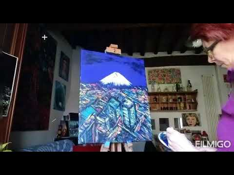 Tokyo and Mount Fuji_acrylic painting on canvas