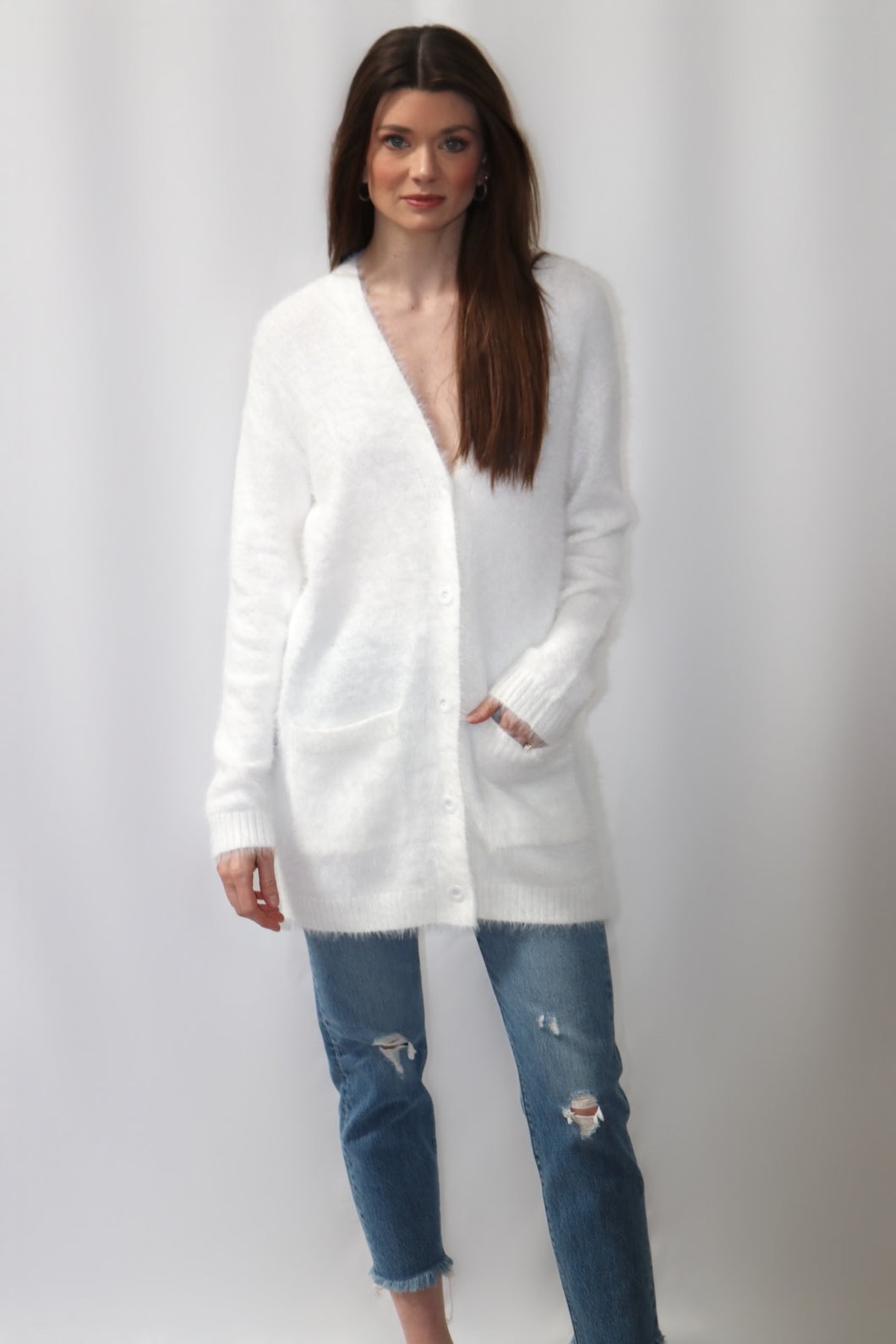 Feather Knit Cardigan - Ivory