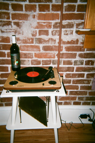 record player and wine