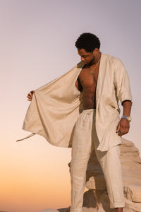 Mens Linen Robe + Trouser set