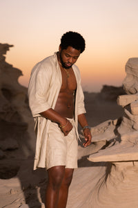 Mens Linen Robe + Short set