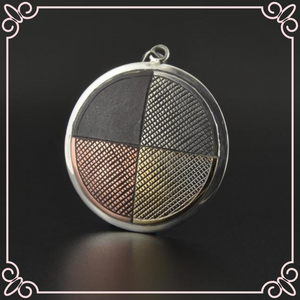 Medicine Wheel - Silver Pendant with 14k Gold and Copper