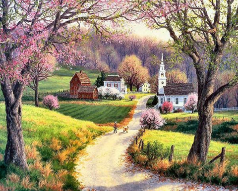 COUNTRYSIDE ACRYLIC PAINTING LANDSCAPE