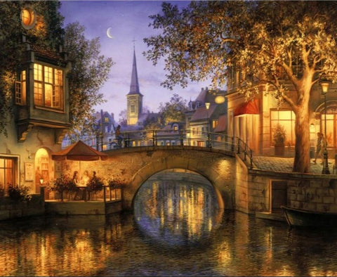 RIVER TOWN SIMPLE PAINT BY NUMBERS LANDSCAPE