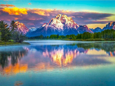 PAINT BY NUMBERS MOUNTAINS WATER LANDSCAPE PAINTING