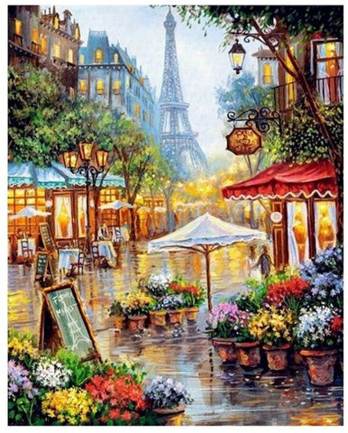 Romantic Paris Street Paint by Numbers